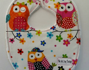 Baby girl bib, Feeding bib, newborn baby girl bib, Triple layer snap bib,Ready to ship, Handmade