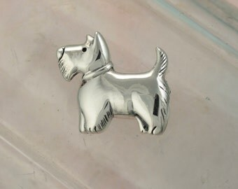 Sterling Silver Scottie Terrier Dog Brooch / Dog Pin / Animal Jewelry