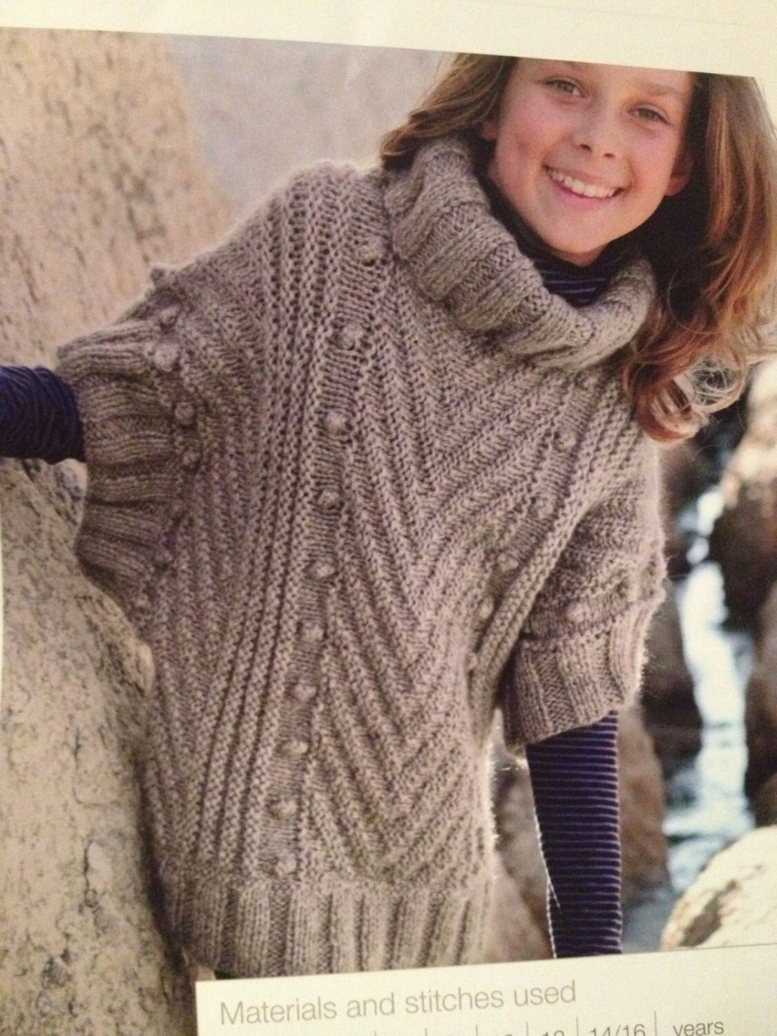 Knitting Designs For Ladies : Girls knitted poncho sweater knitting pattern