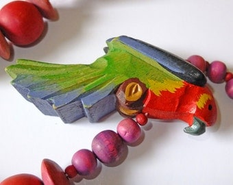 Vintage Wooden tropical bird necklace