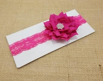 Flower girl headband, pink flower headband, lace headband, rustic wedding headband, barn wedding, rustic wedding, vintage headband