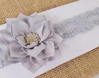Gray lace headband, vintage lace headband, gray flower girl, flower girl gray, flower girl headband, rustic lace headband, rustic headbands