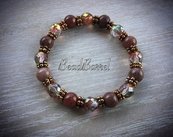 Red aventurine bracelet, purple aventurine stretch bracelet, Czech glass bracelet, gemstone stretch bracelet, aventurine bracelet