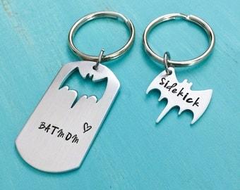 Batmom and Sidekick Keychain- Bat Mom keychain-Superhero Keychain-Geeky mom Gift-Hand stamped jewelry-Batman Keychain-Hand Stamped Jewelry