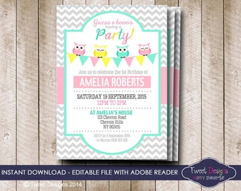 INSTANT DOWNLOAD OWL Invitations that you can edit yourself at home, Owl Party Invitations