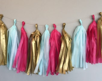 Gender Reveal Garland Tissue Tassels