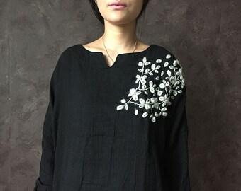 COTTON black top handwork embroidery womens tunic blouse designer artsy shirt