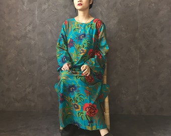 Ethnic blue floral print cotton/linen fabric mid calf tunic Chinese dress M-L