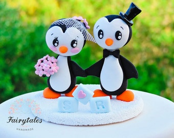 Penguin Cake Topper with Stand / Wedding