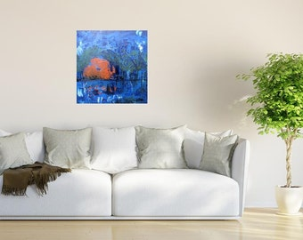 Abstract Sunset Painting, Beach Sunset Painting, Original Blue Painting, Sunset art, Orange Sun Art, Astract art, Livingroom Decor
