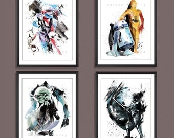Star wars movie poster, Star Wars poster, Star War print, set of 4 prints, Darth Vader, Yoda, Stormtrooper, R2D2, 3CPO, Kids Decor, 3533