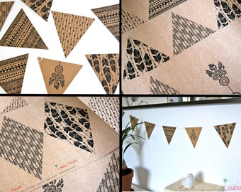 Kit wreath pennants arrows - Boho Style - recycled Kraft paper
