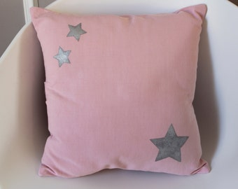 """Cushion cover 40 x 40 """"rose"""" cotton and silver stars - original decoration"""
