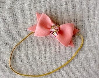 FRENCH PEACH wool felt embellished bow