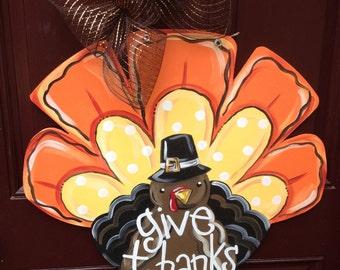 Turkey door hanger/Fall door hanger/The Gilded Polka Dot/Thanksgiving door hanger