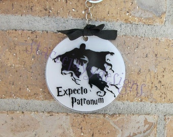 Expecto Patronum dementor and stag keychain