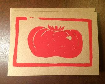 Tomato card, hand printed, linocut, block print, 4x5.5