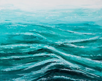 "Ocean painting, Palette knife Waves, Seascape beach art, Acrylic Abstract, Impasto Textured painting, Maldives beach, Modern wall art, 20""."