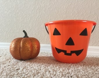 Personalized Trick or Treat Candy Bucket- Pumpkin Face- You Pick Name and Font