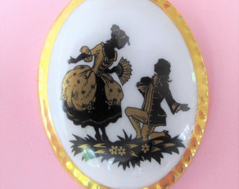 Sensational Vintage Courting Couple Fine Bone China Brooch