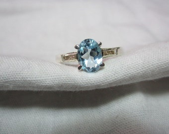 NATURAL blue topaz NATURAL diamond ring ,sterling silver ,WOOW