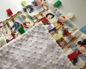 Lovely Cuddle Comfort Blanket Ribbon Taggie Style approx 50x50cms Little Cowboys