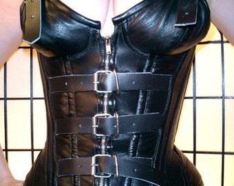 "Sale! 22"" stunning steel boned Genuine lambskin leather waist cincher corset XS S M gothic fetish larp"