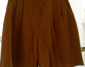 Rust brown high waisted long shorts