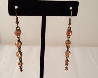 Bronze & Peach Crystal Dangle Earrings - Peach Earrings - Bronze Earrings - Crystal Earrings - Peach Jewelry - Peach - Peach Dangle Earrings