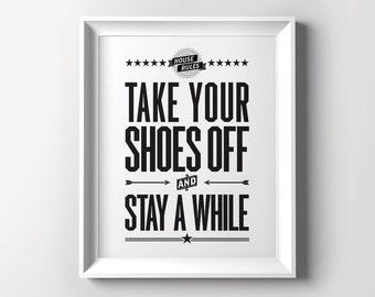 take your shoes off sign kick off your shoes printable art. Black Bedroom Furniture Sets. Home Design Ideas
