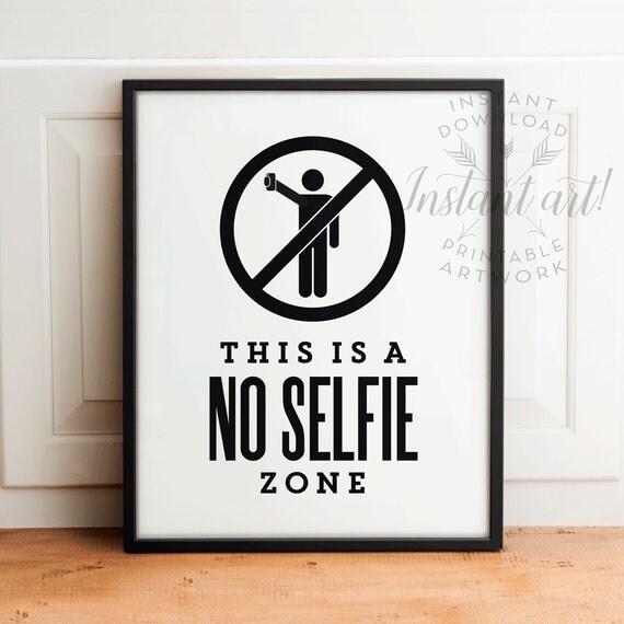 Funny Bathroom Wall Art Printableno Selfie Zonebathroom