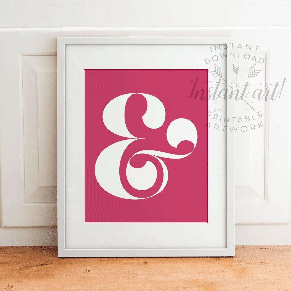 Ampersand printable nursery printable craft room decor for Ampersand decoration etsy