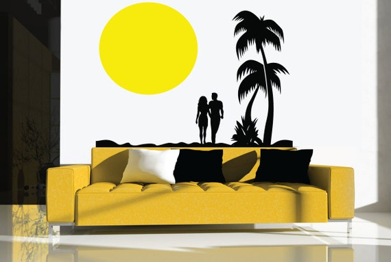 Couple on the Beach Wall Decal by Walls2LifeDecals