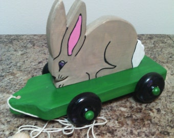 Adorable Bunny Pull Toy on Green Base