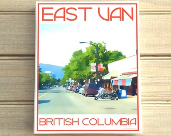 East Vancouver Commercial Drive B.C. - Love This Place Cityscape - Canvas Art Print Home Decor Tourism Gift Photo TheJitterbugShop