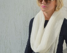 White mohair scarf infinity scarf ivory wool shawl mohair xmas scarf lace knitted shawls circle scarves white knit christmas scarf infinity