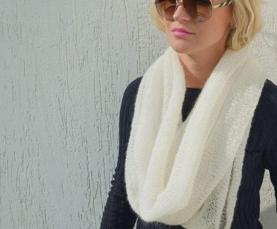 Infinity Scarf Knitting Pattern Mohair : White mohair scarf infinity scarf ivory wool shawl mohair xmas