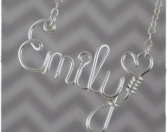 Emily Wire Word Name Pendant Necklace