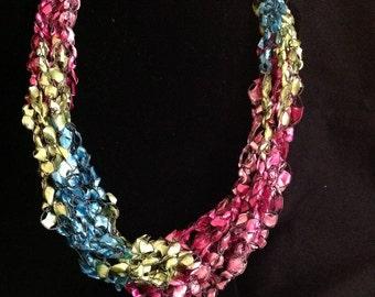 Neon Rainbow Crochet Scarf Necklace