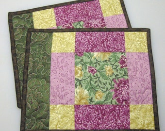 Handmade Quilted Snack Mats, Mug Rugs, Set of 2, Placemats, Reversible, Candle Mat