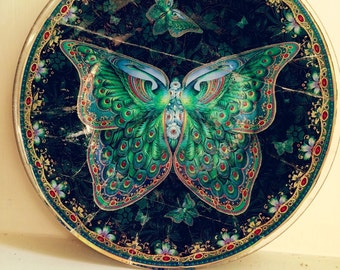 Vintage antique butterfly blue decoupage plate