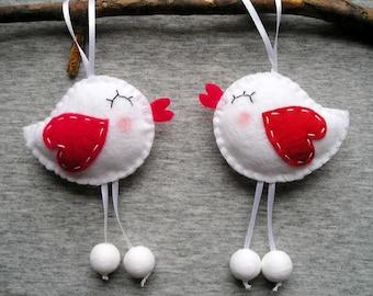 Love Birds Felt Ornaments Hearts Cute Home Decor Animals Hangings Spring Home Decor Valentines Felt
