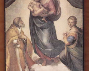 The Sistine Madonna,  the Madonna di San Sisto, Raphael Sanzio.FREE SHIPPING