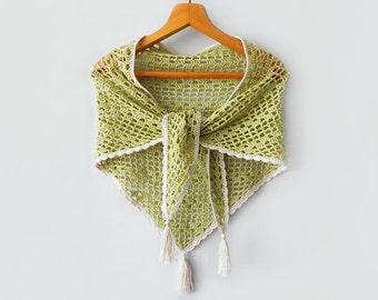 Сotton summer shawl, crochet cotton shawl, light green shawl, boho shawl, lace shawl, summer shawl, womens scarf