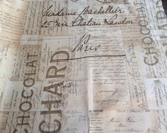 """Electric Elements by Tim Holt-Light Tan French Script Fabric """"Foundations"""" -One Yard Cut - old world script, newsprint, words."""