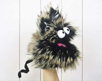 Hand Puppet - Monster Puppet - Furry Monster - Attachable Parts
