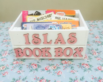 Childrens Wooden book box/ crate/ wooden crate