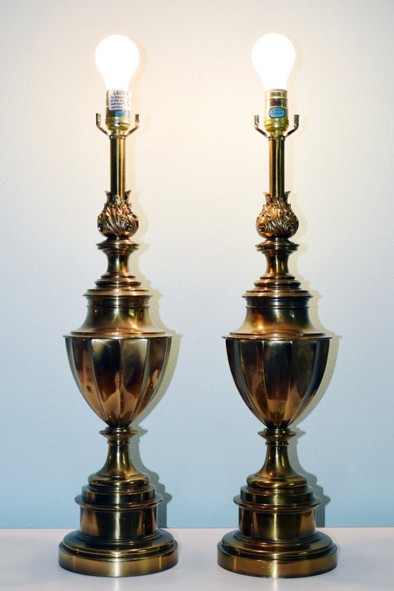 Vintage Stiffel Brass Trophy Lamps Pair By Yesterladyland