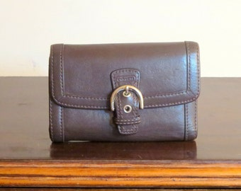 Coach Buckled Clutch Combination Olive Brown Leather Wallet Zipper Coin Purse- Very Good to Excellent Condition
