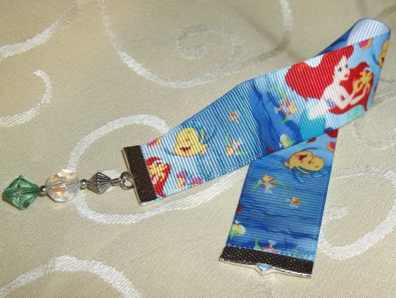 "Little Mermaid Themed 9"" x 1"" Grosgrain Ribbon Hand Crafted Bookmark"